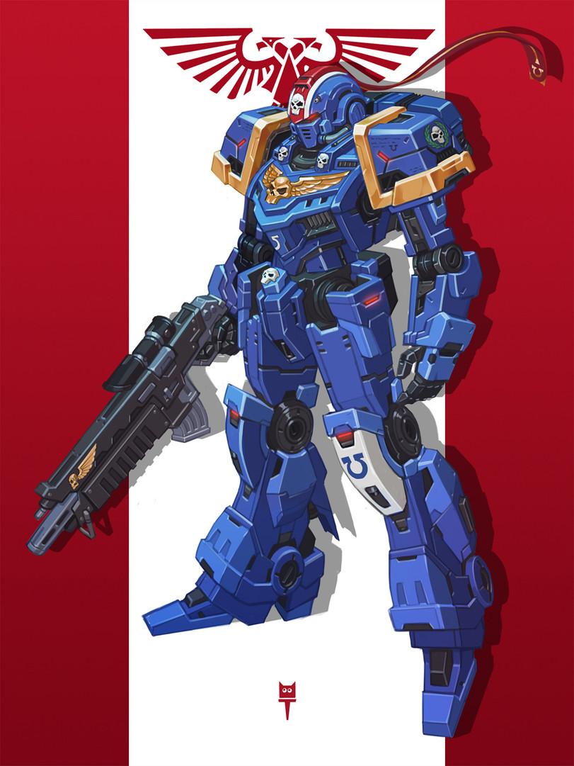 Gundam, Primaris Space Marine, Ultramarines, Warhammer 40000, картинки, красивые картинки