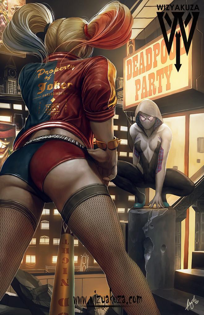 Wizyakuza, artist, Harley Quinn, DC Comics, Spider-Gwen, Marvel, crossover, картинки, красивые картинки