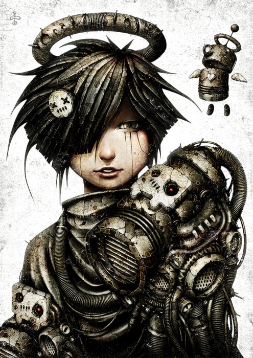 shichigoro, киберпанк, cyberpunk, anime, art, арт