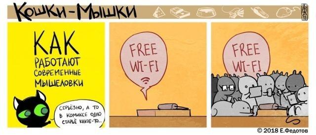 Кошки-мышки, комиксы, Wi-Fi, free Wi-Fi, мышеловка, картинки, юмор