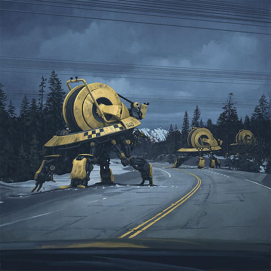 картинки, красивые картинки, мрачные картинки, Simon Stålenhag, постапокалипсис