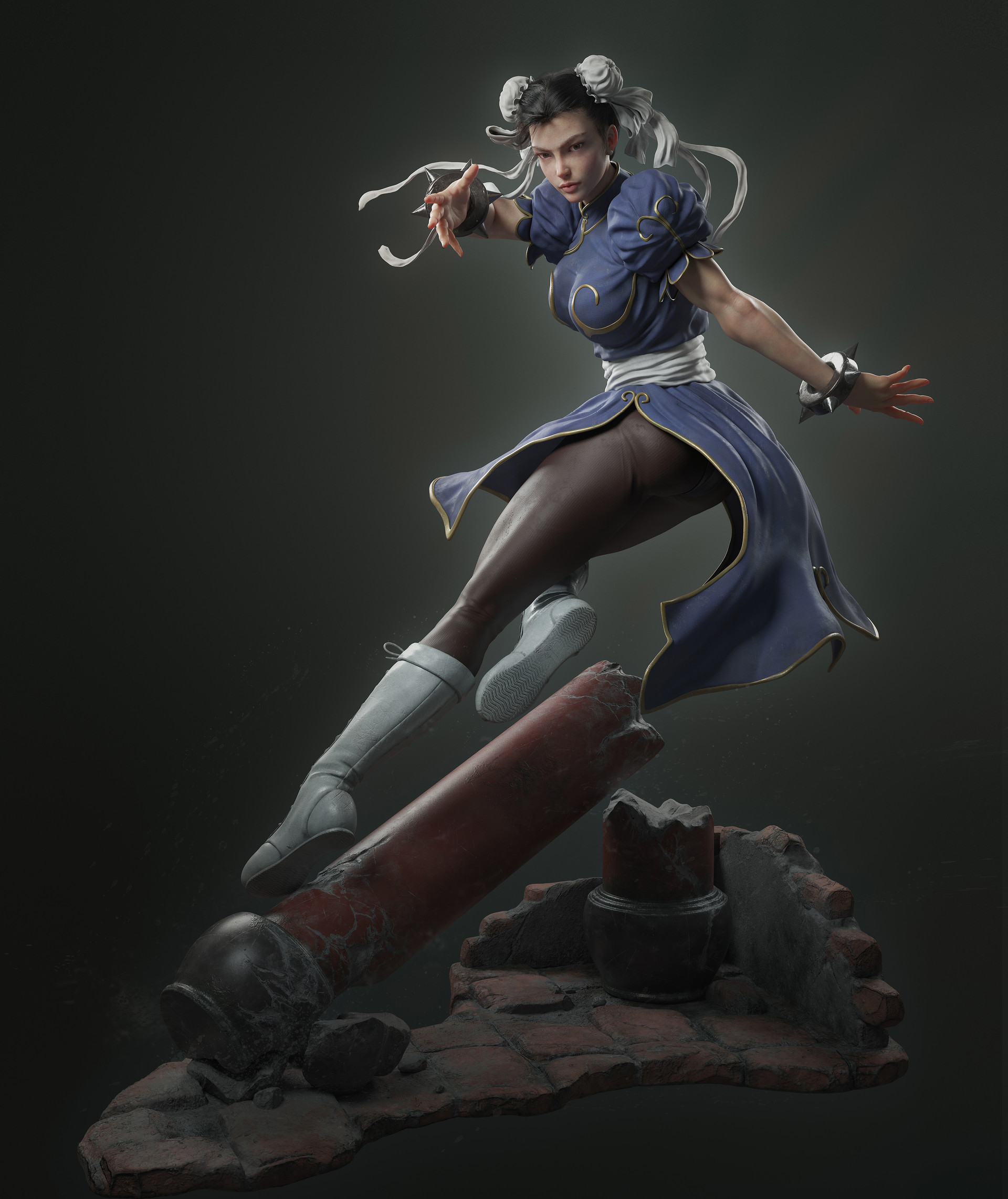 Chun Li, Street Fighter, игры, 3d art, арт, 翼次方 Studio, игровой арт