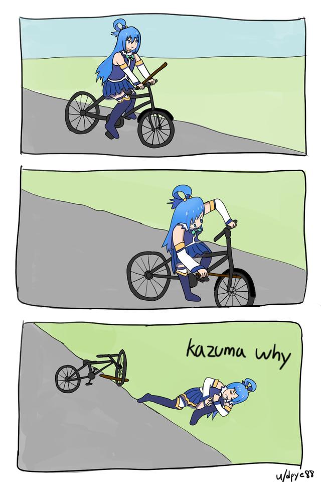 konosuba, aqua, meme, bike, картинки, комиксы