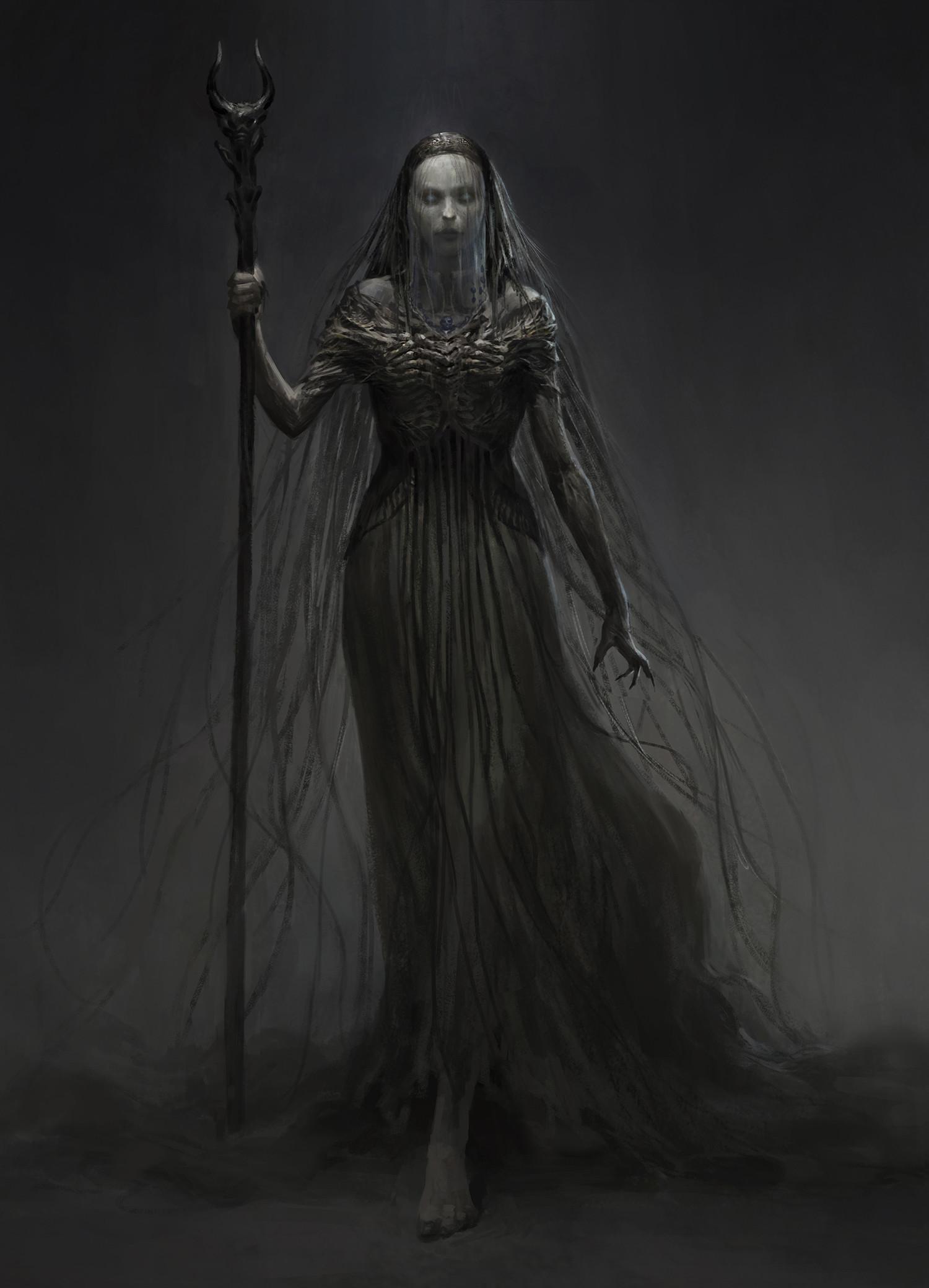 картинки, мрачные картинки, арт, ведьма, Qingkai Yang