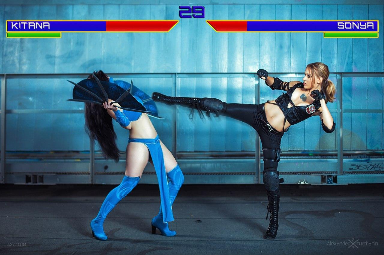 Mortal Kombat, cosplay, косплей, Anastasya Zelenova, Kitana, Sonya Blade, игры