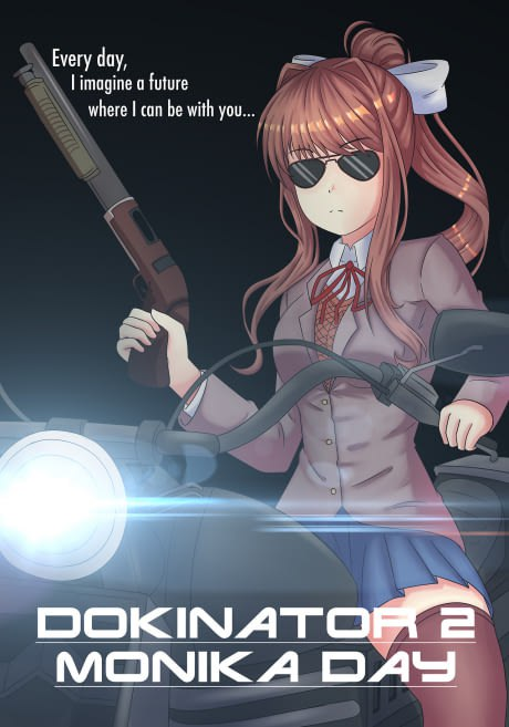 Dokinator 2 Monika day, Doki Doki Literature Club, картинки, anime
