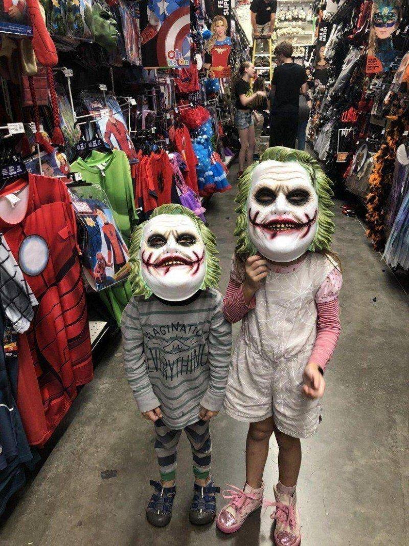 фото, дети, маска, Джокер