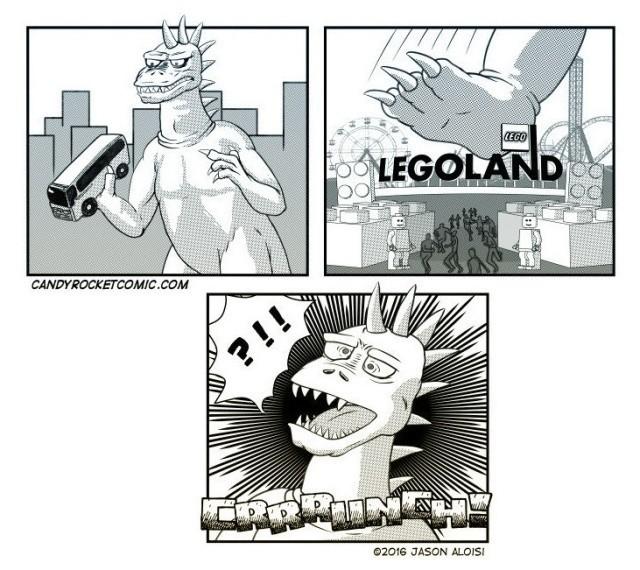 комиксы, Lego, Legoland, Годзилла, юмор